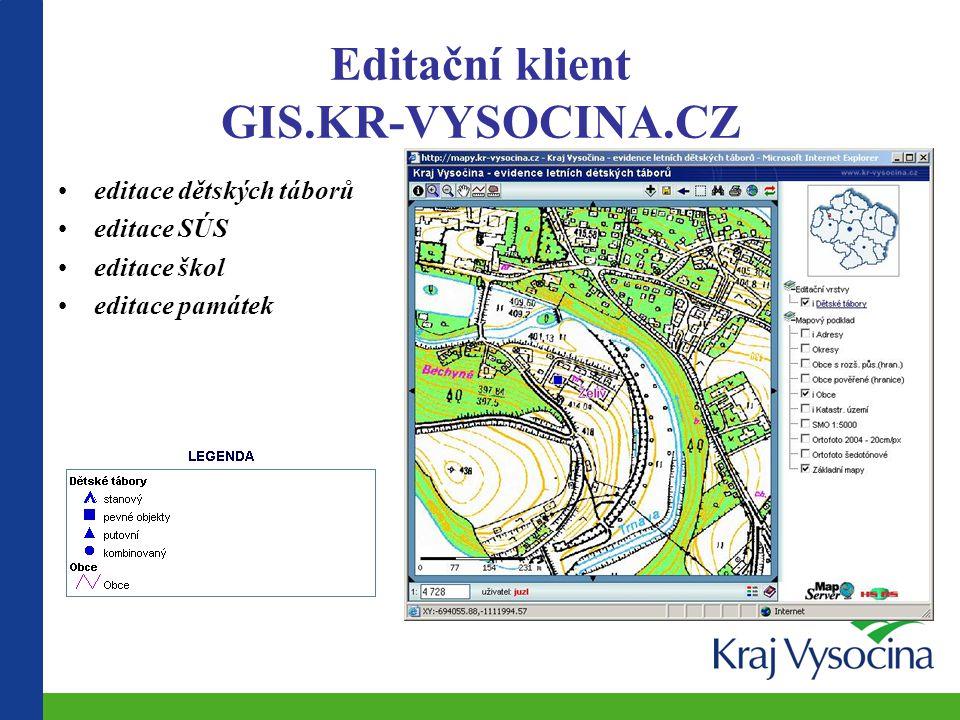 Editační klient GIS.KR-VYSOCINA.CZ