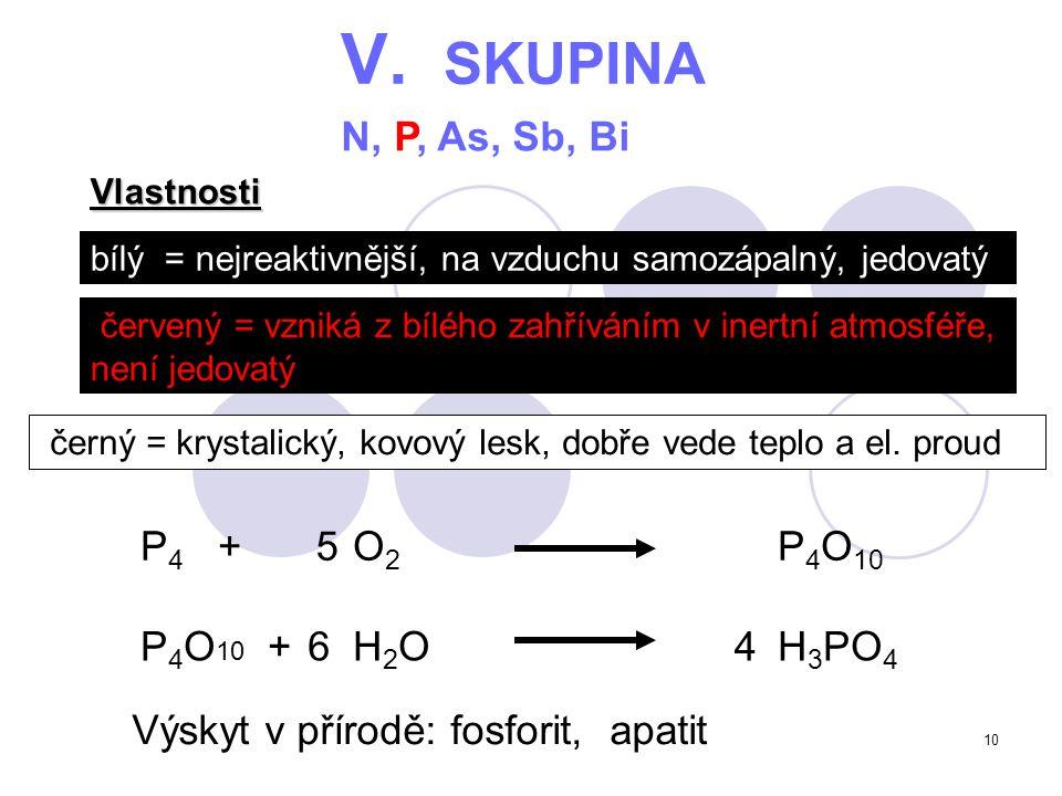 V. SKUPINA N, P, As, Sb, Bi P4 + O2 P4O10 5 P4O10 + H2O H3PO4 6 4