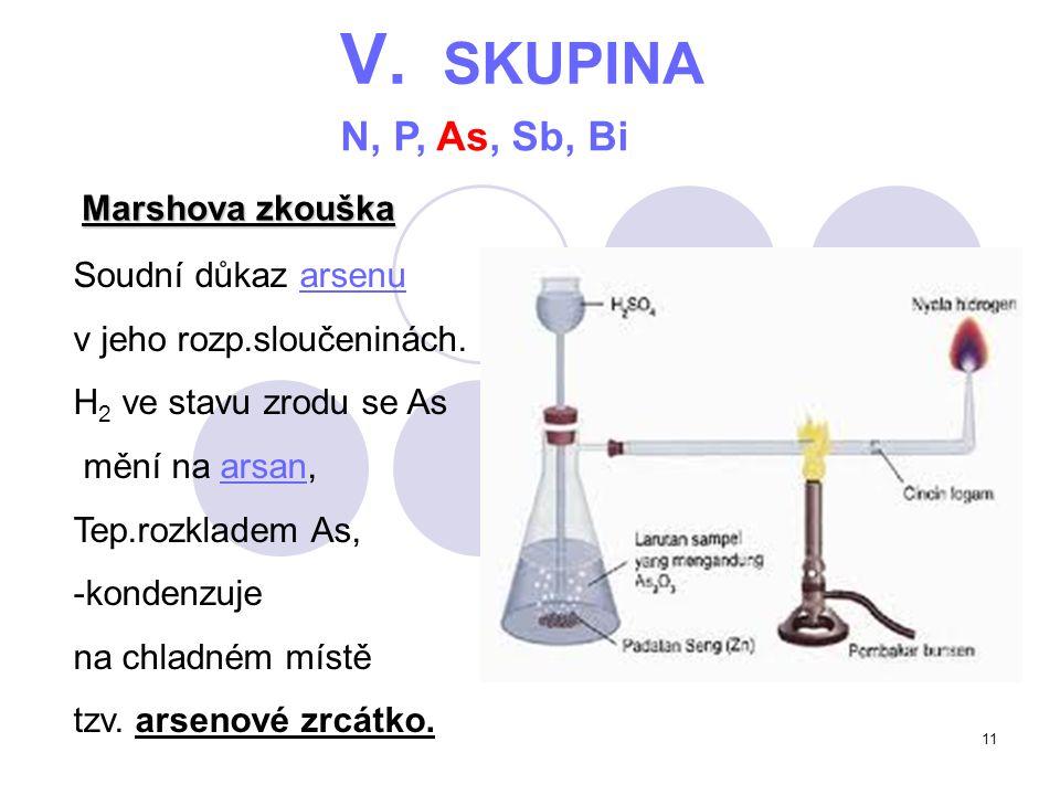 V. SKUPINA N, P, As, Sb, Bi Marshova zkouška Soudní důkaz arsenu