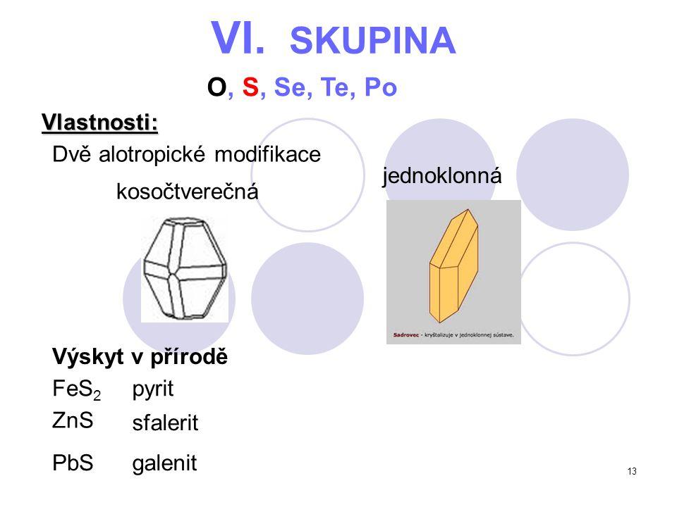 VI. SKUPINA O, S, Se, Te, Po Vlastnosti: Dvě alotropické modifikace