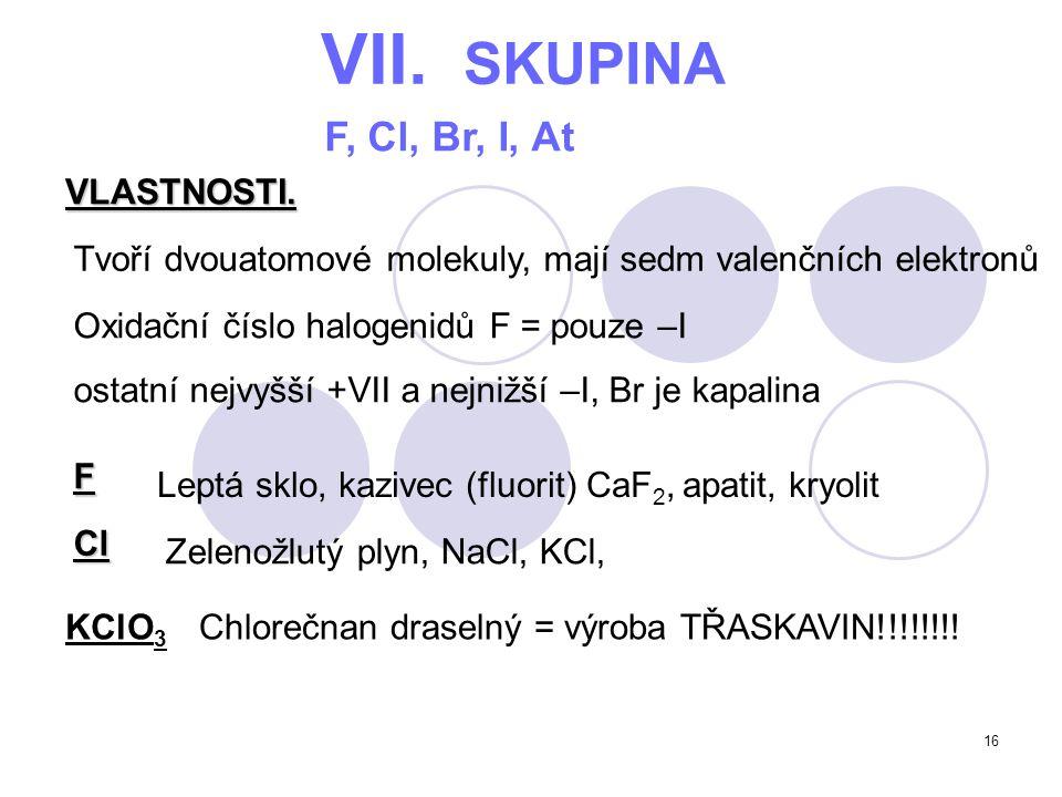 VII. SKUPINA F, Cl, Br, I, At VLASTNOSTI.