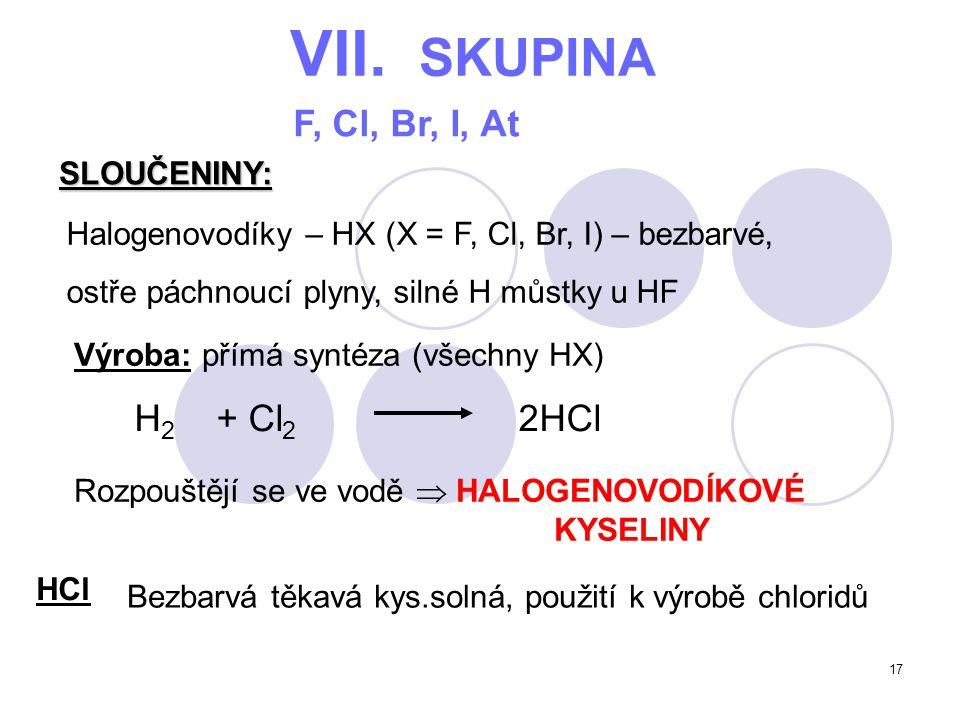 VII. SKUPINA F, Cl, Br, I, At H2 + Cl2 2HCl SLOUČENINY: