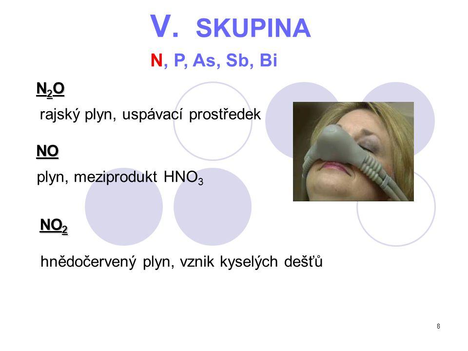 V. SKUPINA N, P, As, Sb, Bi N2O rajský plyn, uspávací prostředek NO
