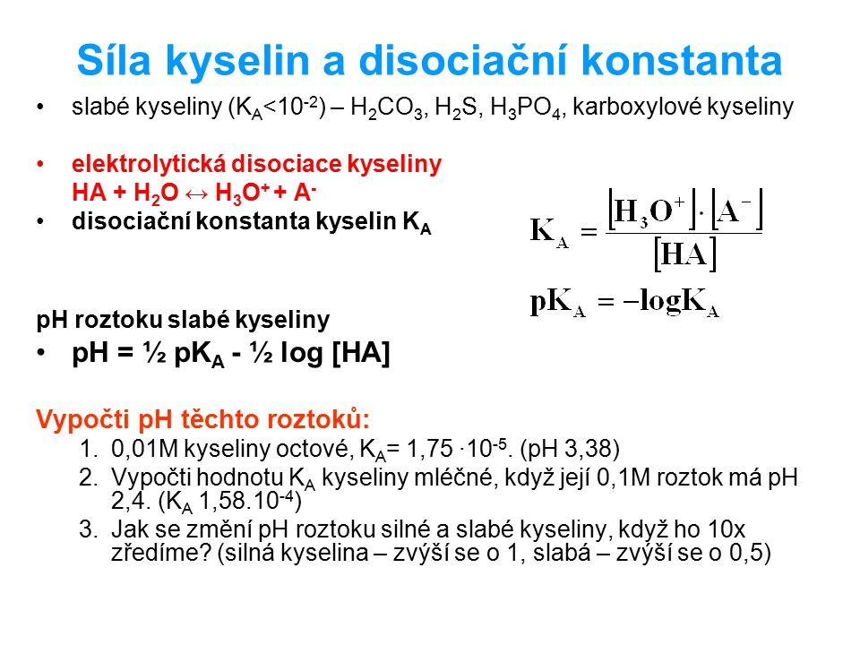 Síla kyselin a disociační konstanta