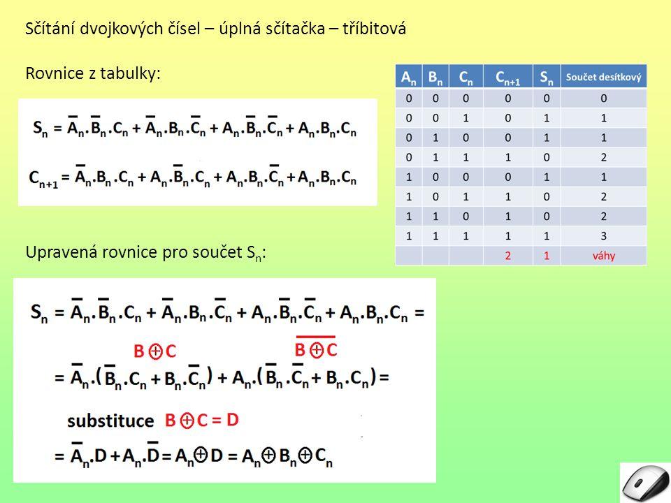 Sčítání dvojkových čísel – úplná sčítačka – tříbitová