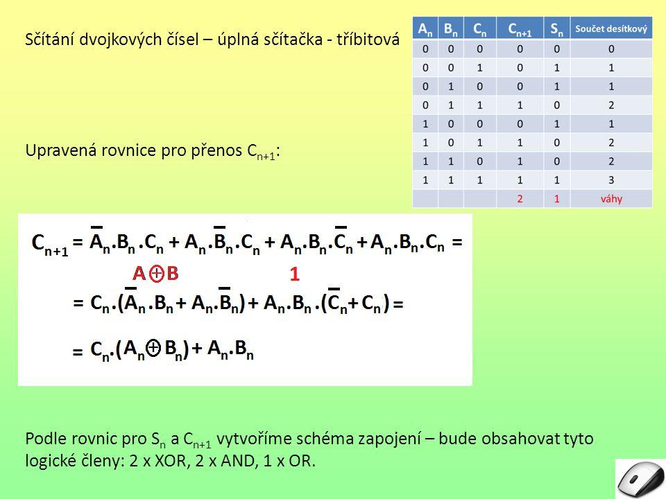 Sčítání dvojkových čísel – úplná sčítačka - tříbitová