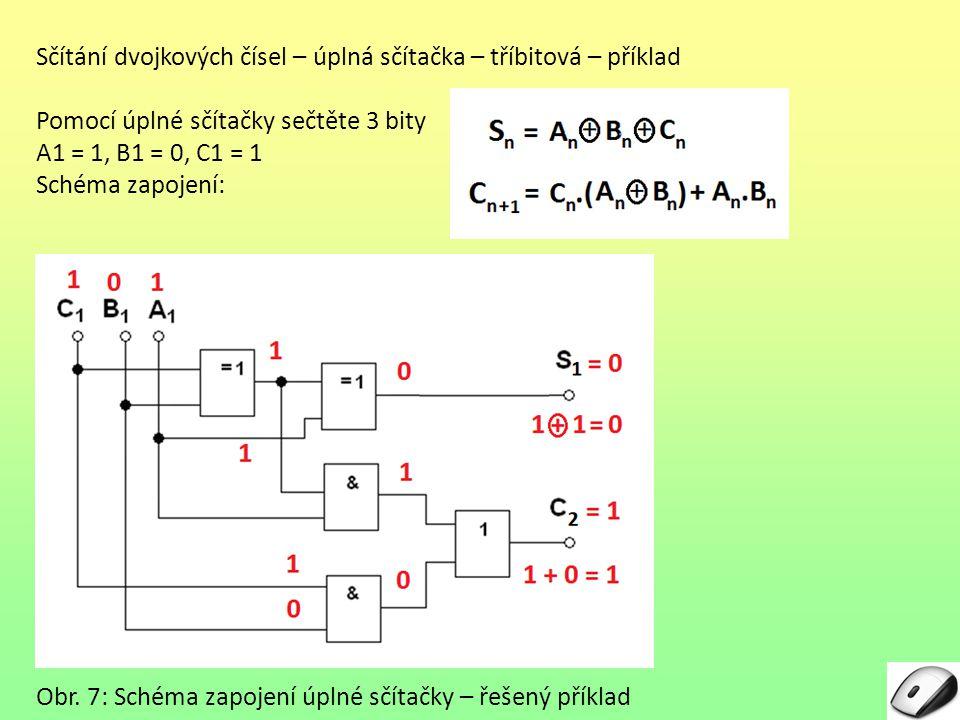 Sčítání dvojkových čísel – úplná sčítačka – tříbitová – příklad