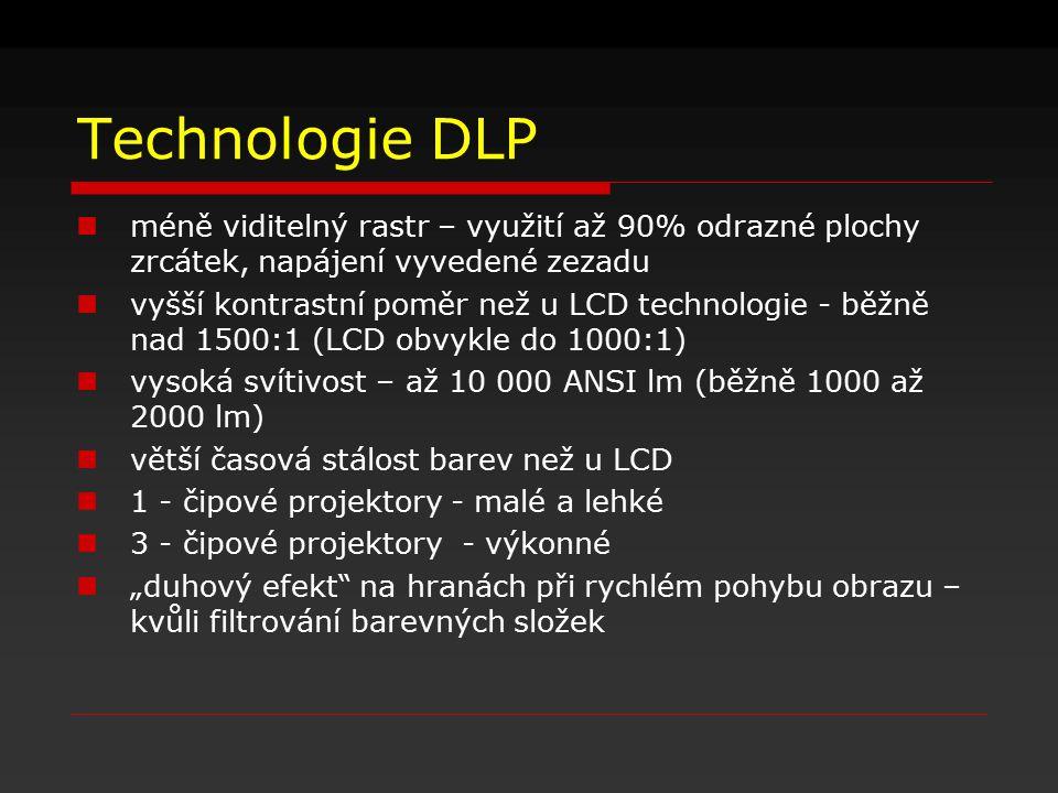 Technologie DLP méně viditelný rastr – využití až 90% odrazné plochy zrcátek, napájení vyvedené zezadu.
