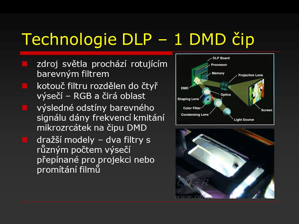 Technologie DLP – 1 DMD čip