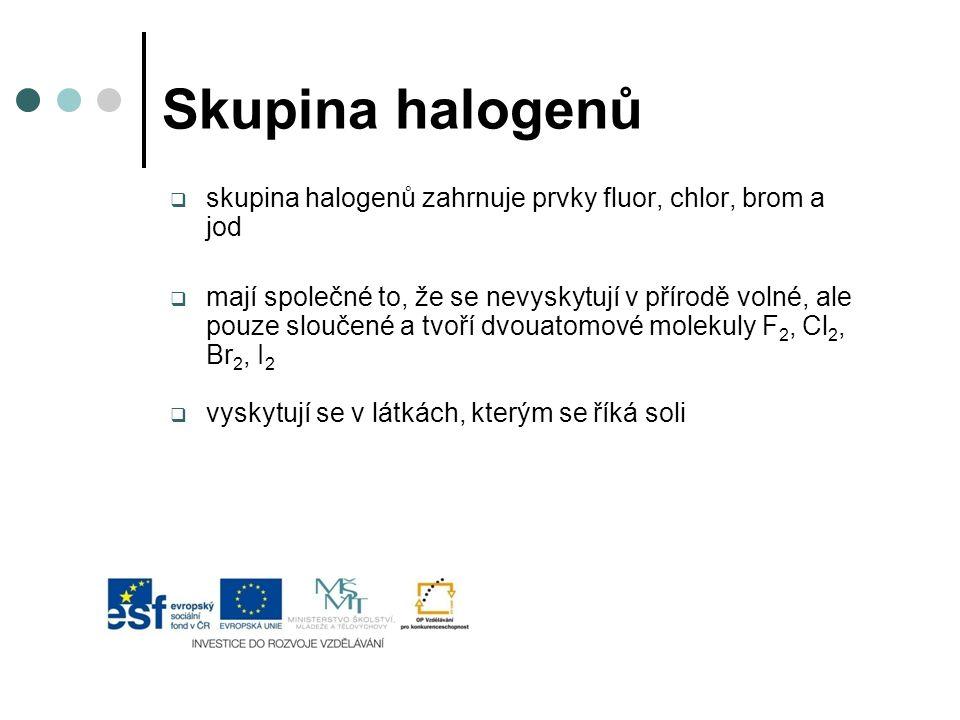 Skupina halogenů skupina halogenů zahrnuje prvky fluor, chlor, brom a jod.