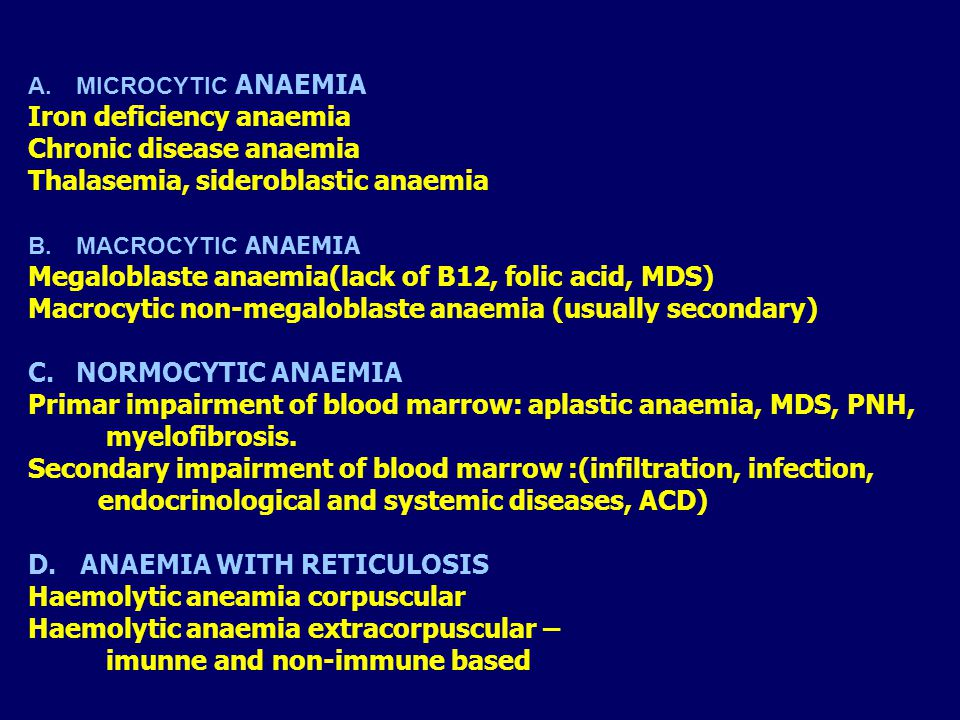 Iron deficiency anaemia Chronic disease anaemia