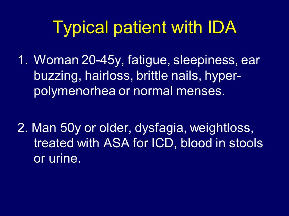 Typical patient with IDA