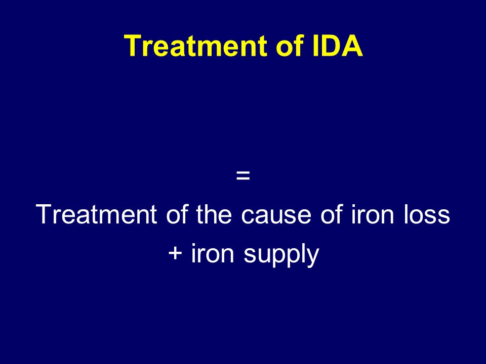 = Treatment of the cause of iron loss + iron supply