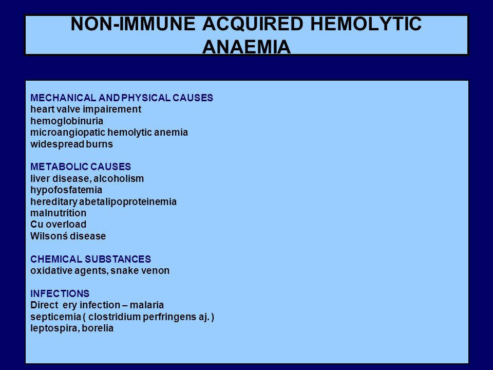 NON-IMMUNE ACQUIRED HEMOLYTIC ANAEMIA