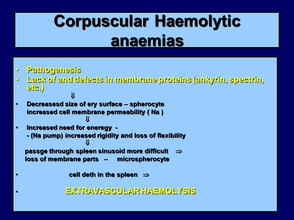 Corpuscular Haemolytic anaemias