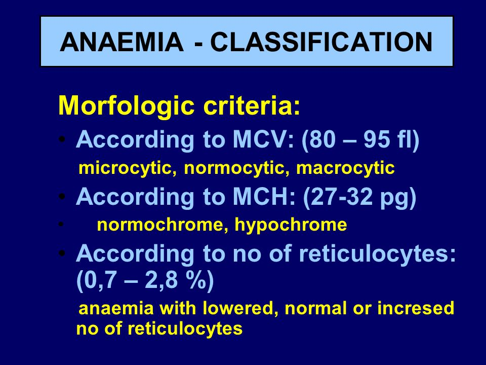 ANAEMIA - CLASSIFICATION