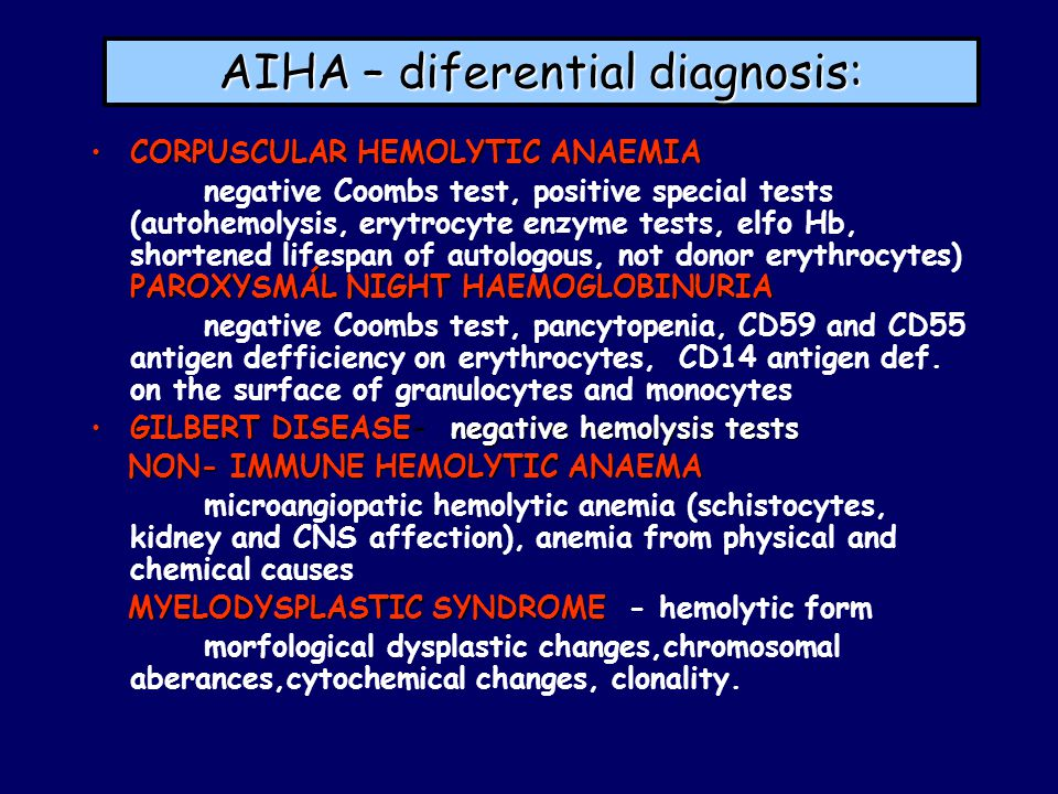 AIHA – diferential diagnosis: