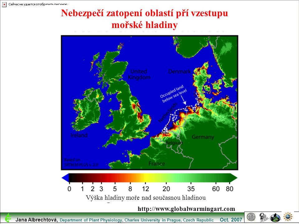 Nebezpečí zatopení oblastí pří vzestupu mořské hladiny