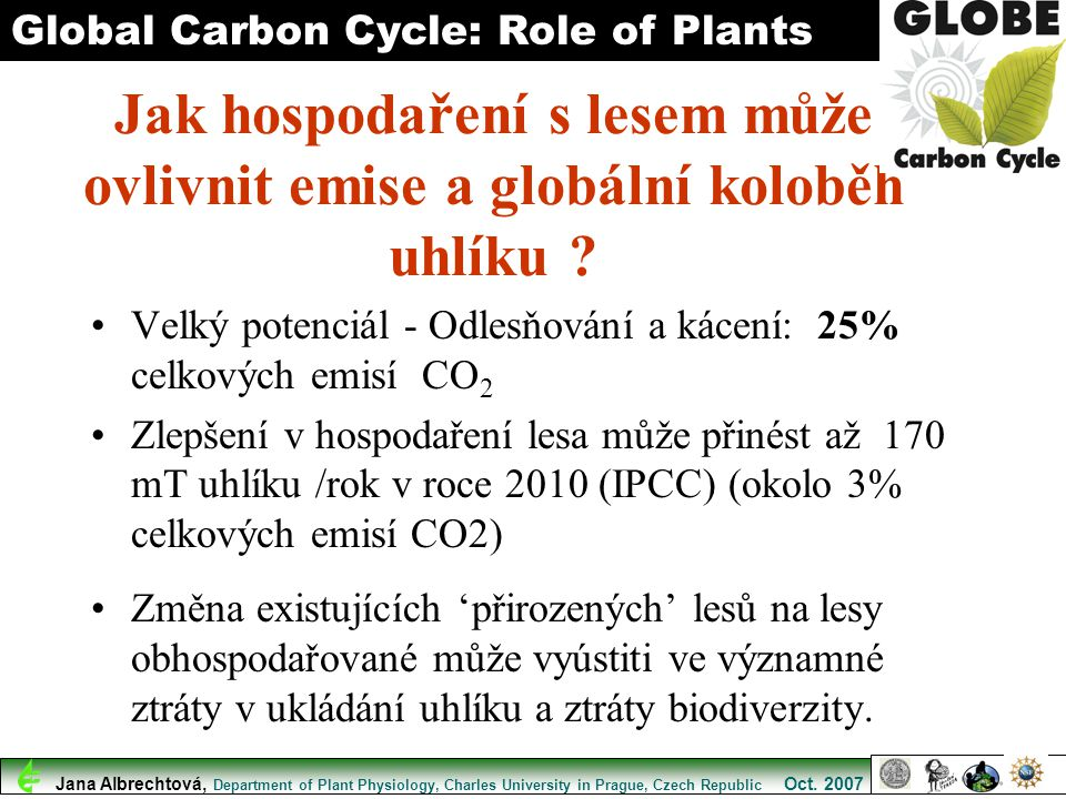 Global Carbon Cycle: Role of Plants