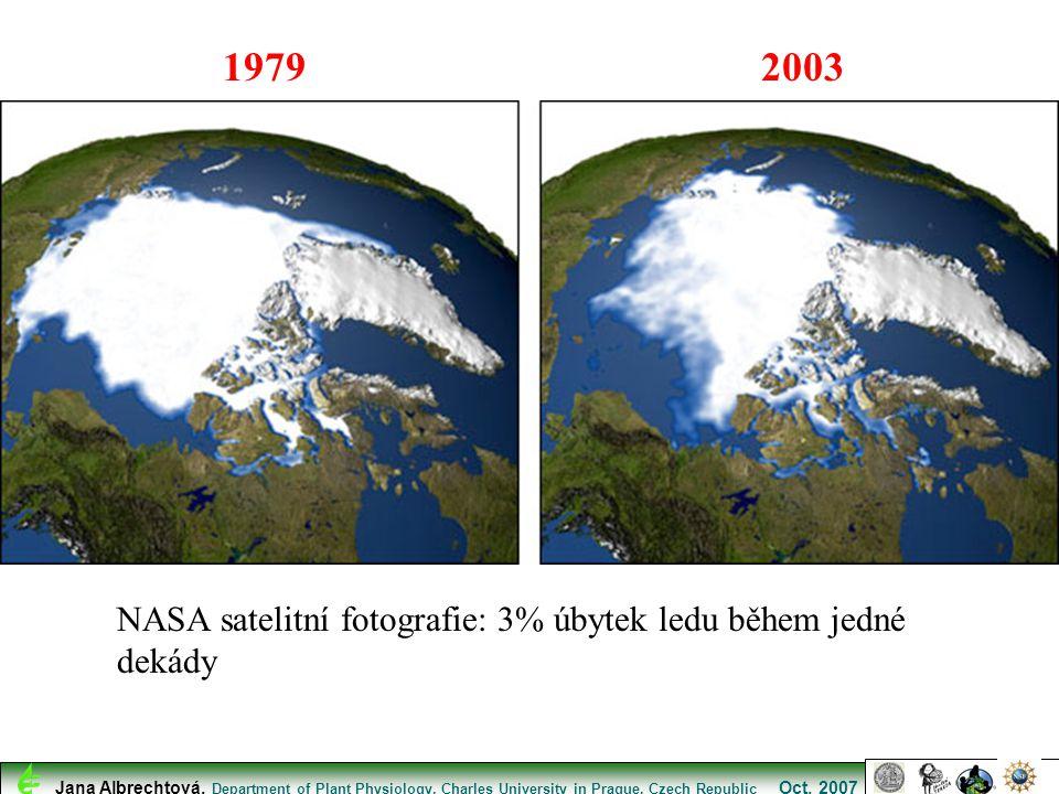 1979 2003 NASA satelitní fotografie: 3% úbytek ledu během jedné dekády