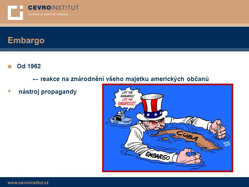 Embargo Od 1962 ← reakce na znárodnění všeho majetku amerických občanů