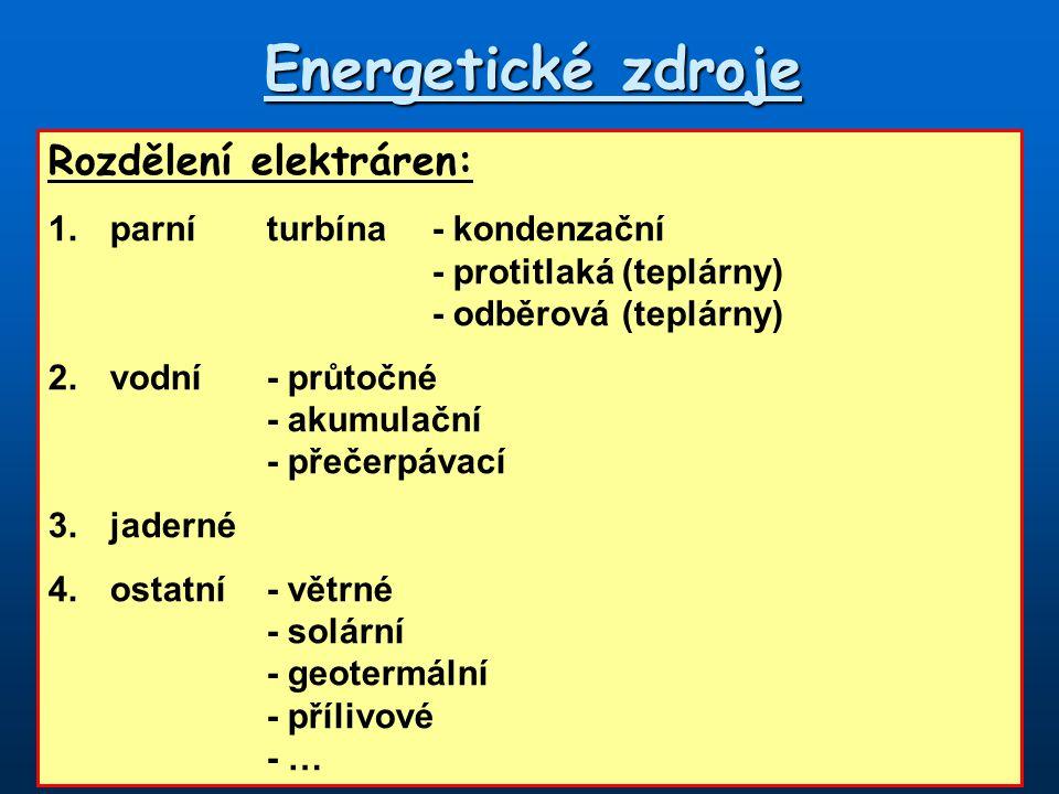 Energetické zdroje Rozdělení elektráren: