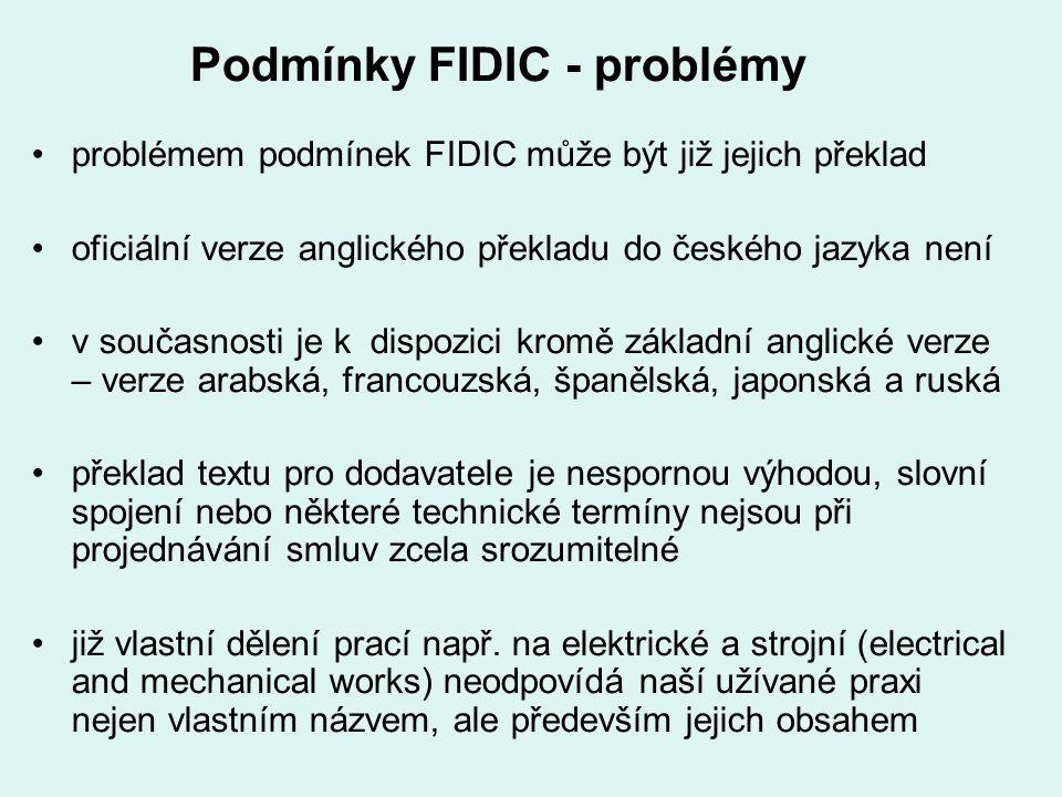 Podmínky FIDIC - problémy