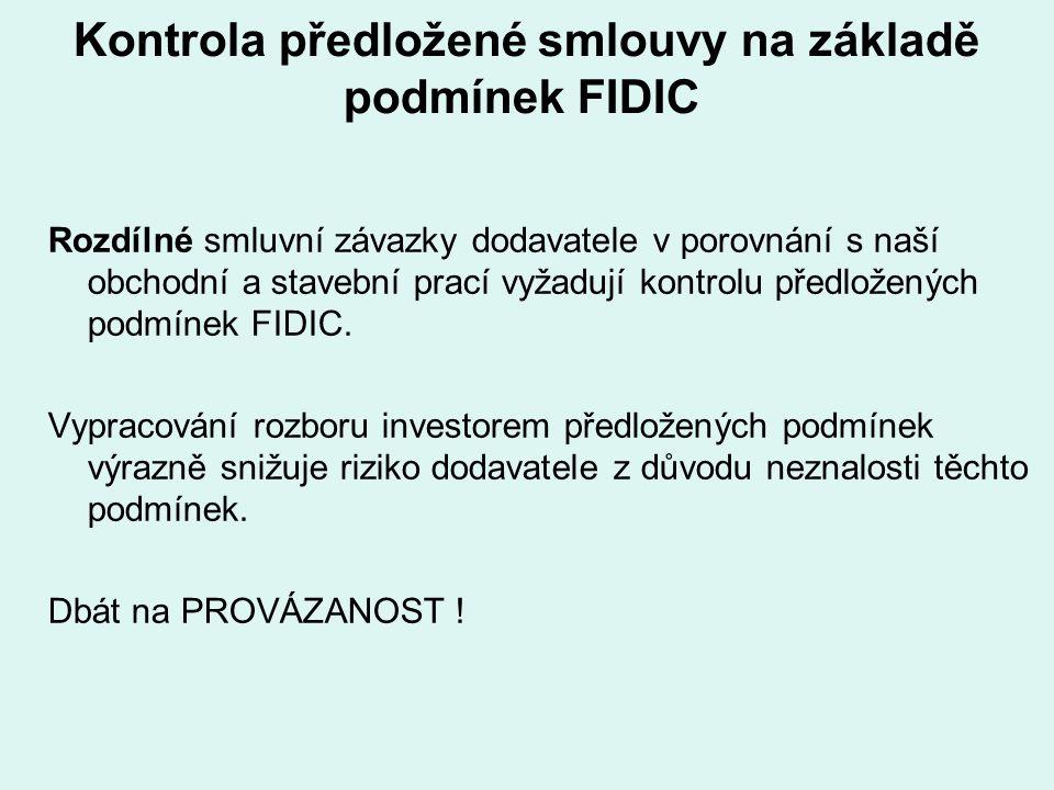 Kontrola předložené smlouvy na základě podmínek FIDIC
