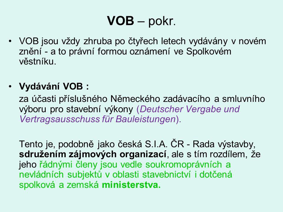 VOB – pokr. VOB jsou vždy zhruba po čtyřech letech vydávány v novém znění - a to právní formou oznámení ve Spolkovém věstníku.
