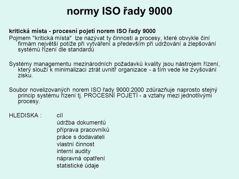 normy ISO řady 9000 kritická místa - procesní pojetí norem ISO řady 9000.