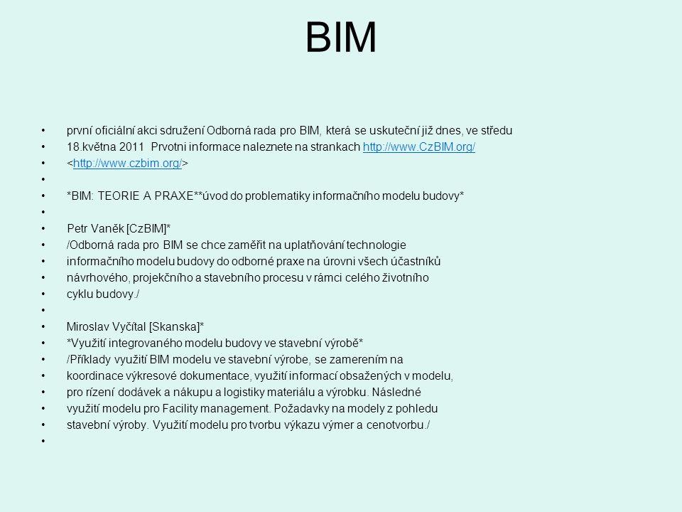 BIM první oficiální akci sdružení Odborná rada pro BIM, která se uskuteční již dnes, ve středu.