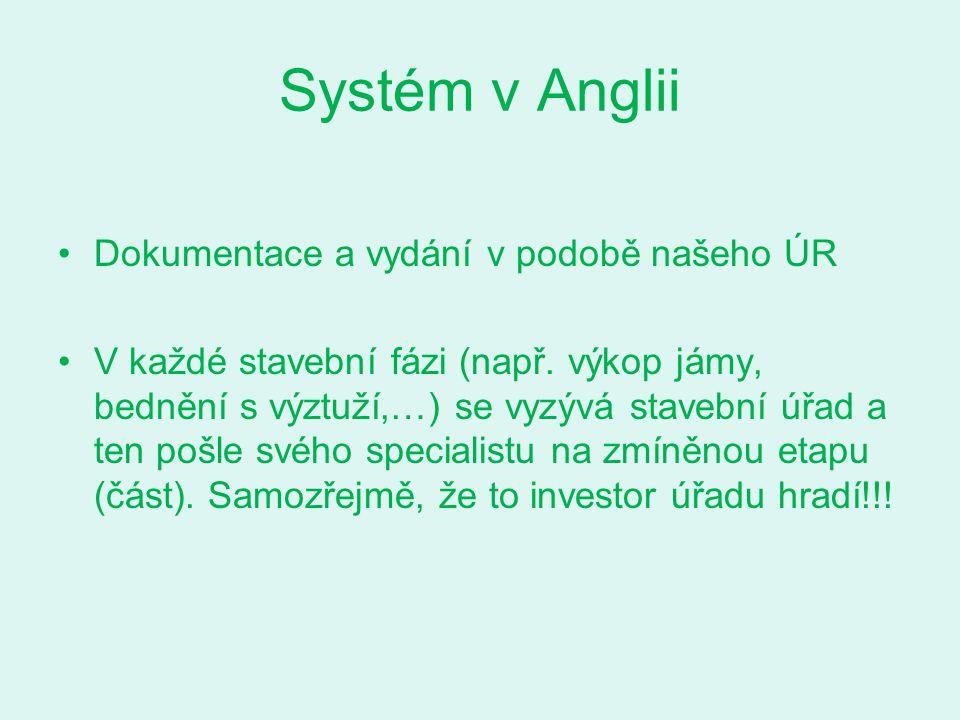 Systém v Anglii Dokumentace a vydání v podobě našeho ÚR