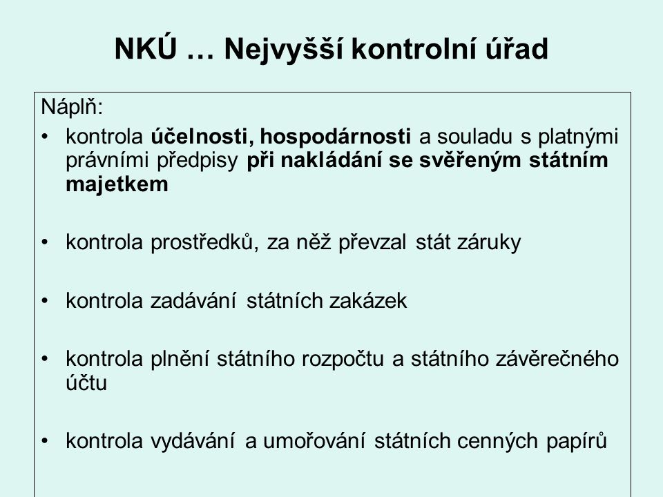 NKÚ … Nejvyšší kontrolní úřad