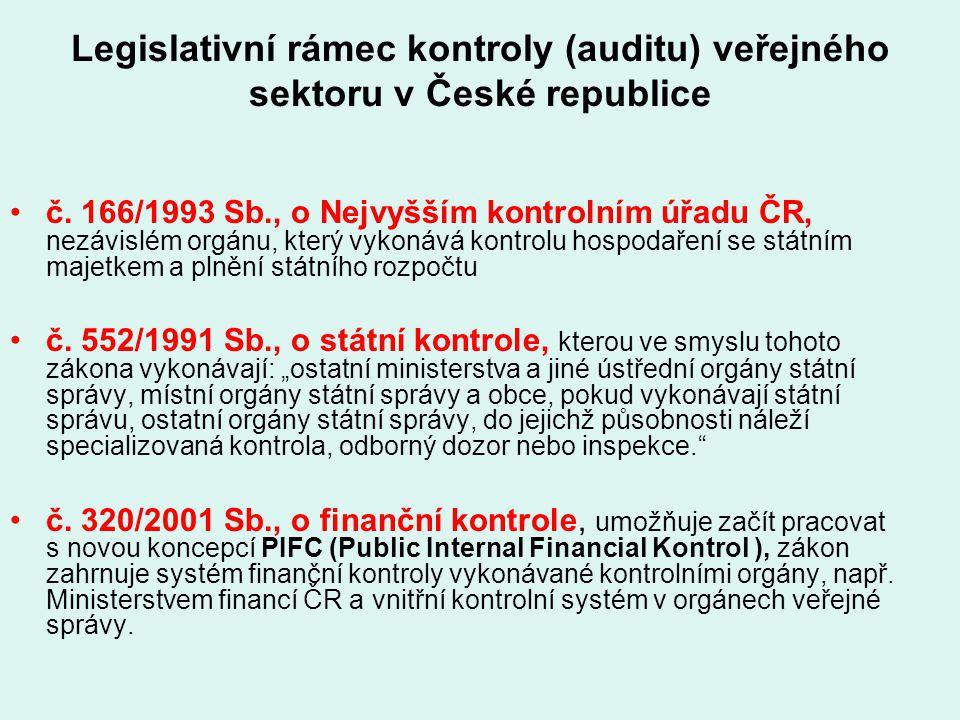 Legislativní rámec kontroly (auditu) veřejného sektoru v České republice
