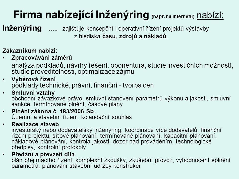 Firma nabízející Inženýring (např. na internetu) nabízí: