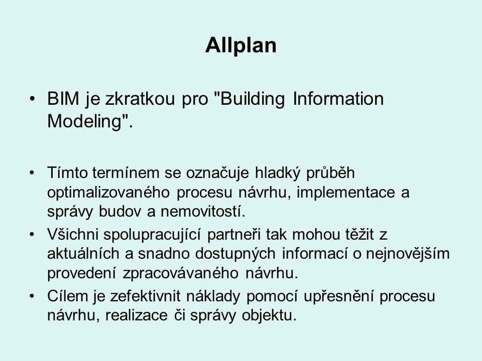 Allplan BIM je zkratkou pro Building Information Modeling .