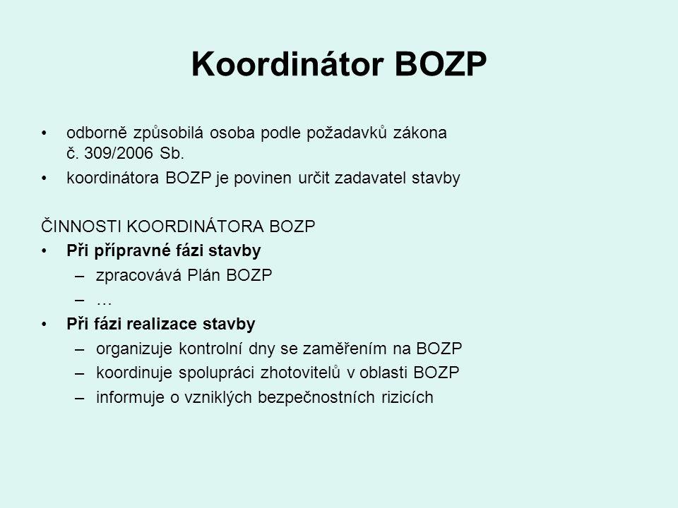 Koordinátor BOZP odborně způsobilá osoba podle požadavků zákona č. 309/2006 Sb. koordinátora BOZP je povinen určit zadavatel stavby.