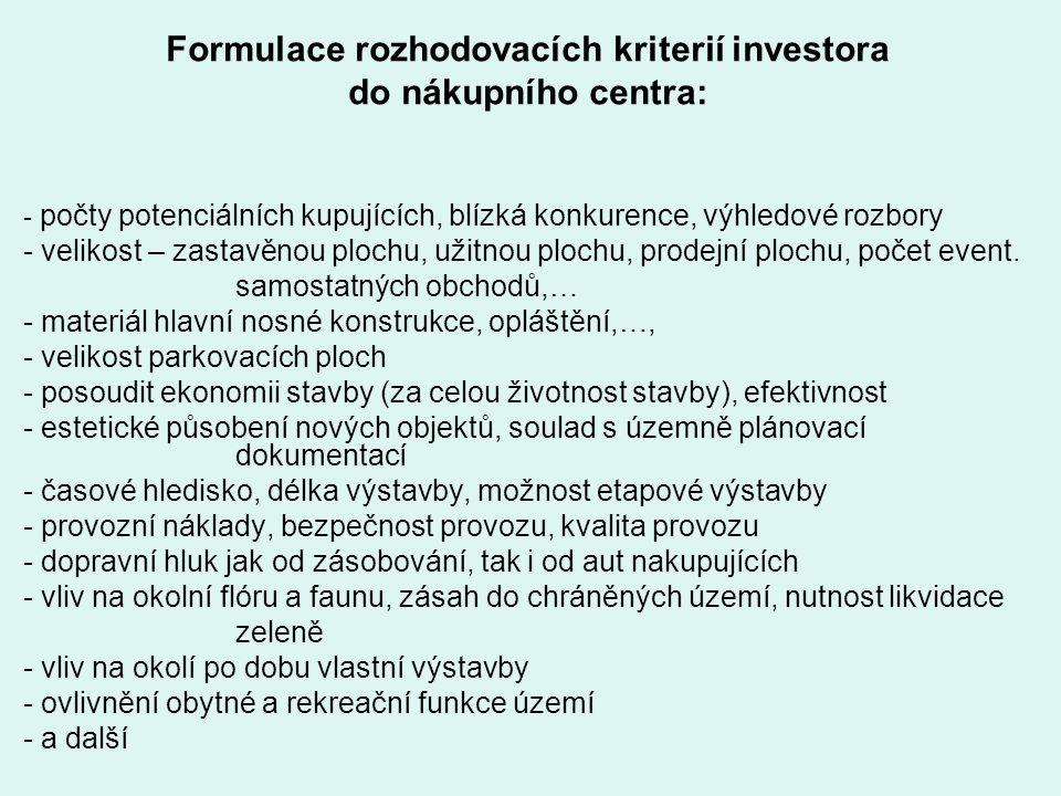 Formulace rozhodovacích kriterií investora