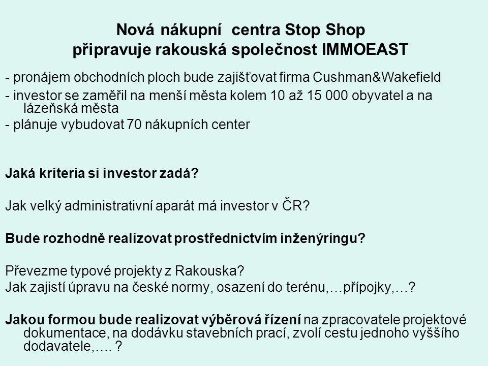 Nová nákupní centra Stop Shop připravuje rakouská společnost IMMOEAST