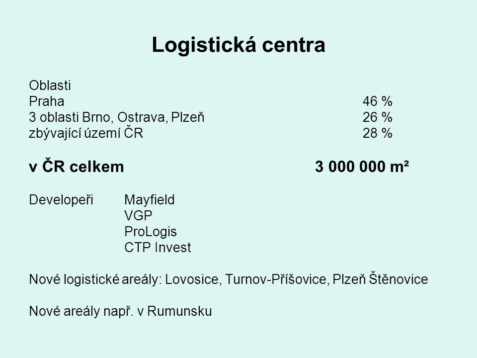 Logistická centra v ČR celkem 3 000 000 m² Oblasti Praha 46 %