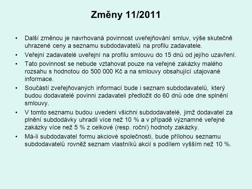 Změny 11/2011 Další změnou je navrhovaná povinnost uveřejňování smluv, výše skutečně uhrazené ceny a seznamu subdodavatelů na profilu zadavatele.