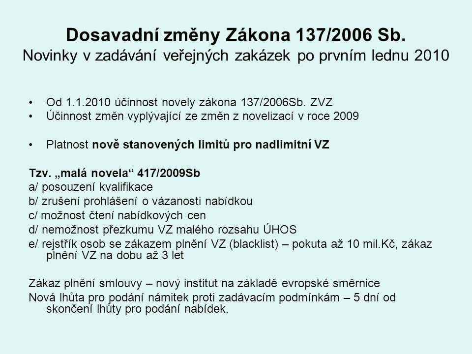 Dosavadní změny Zákona 137/2006 Sb