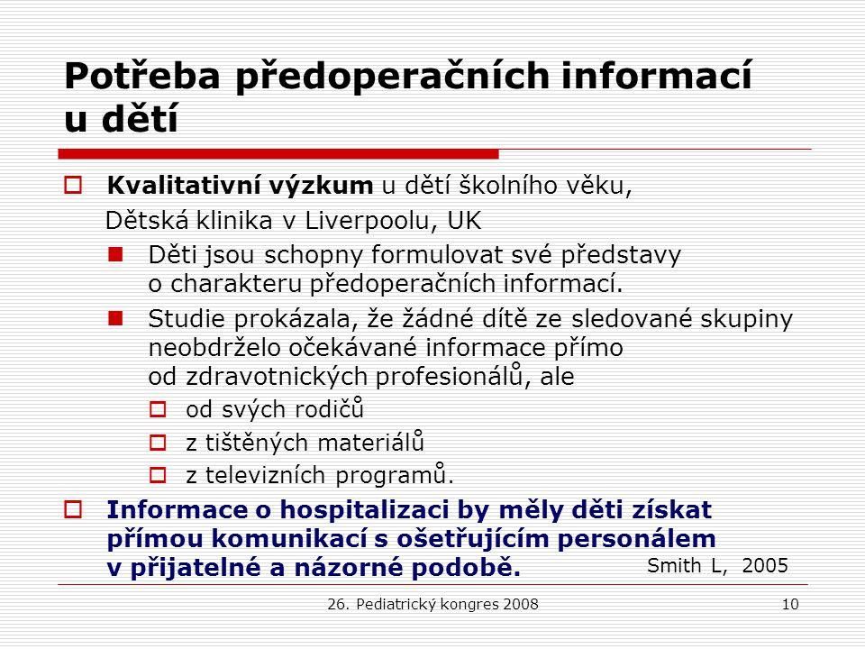Potřeba předoperačních informací u dětí