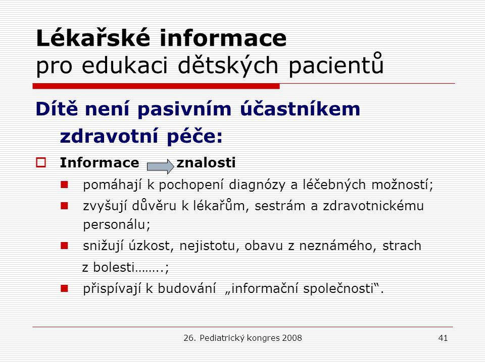Lékařské informace pro edukaci dětských pacientů