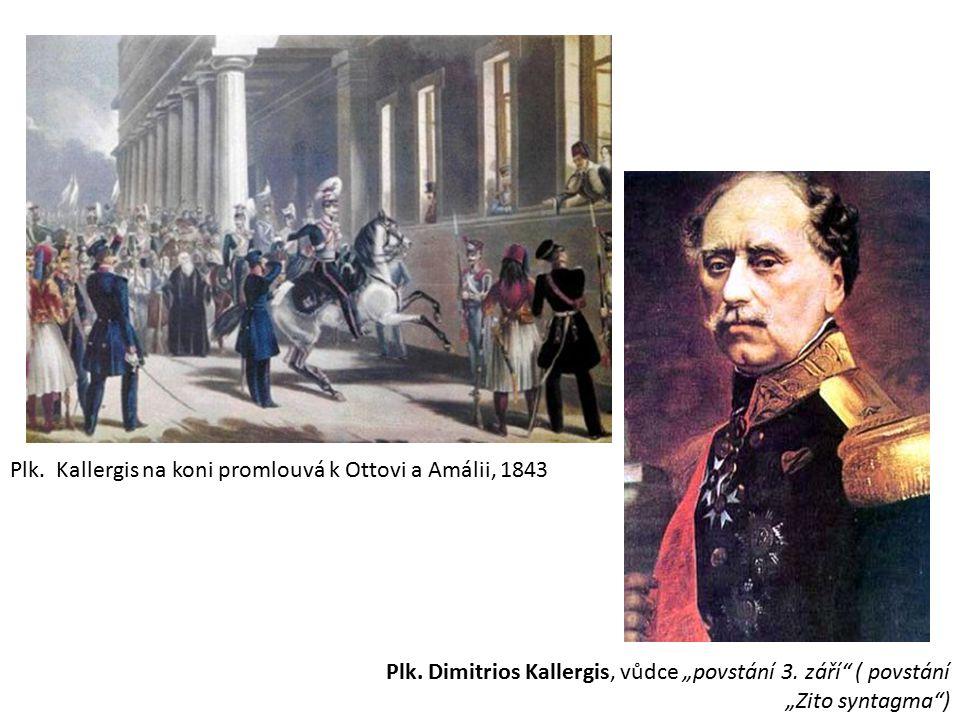 Plk. Kallergis na koni promlouvá k Ottovi a Amálii, 1843