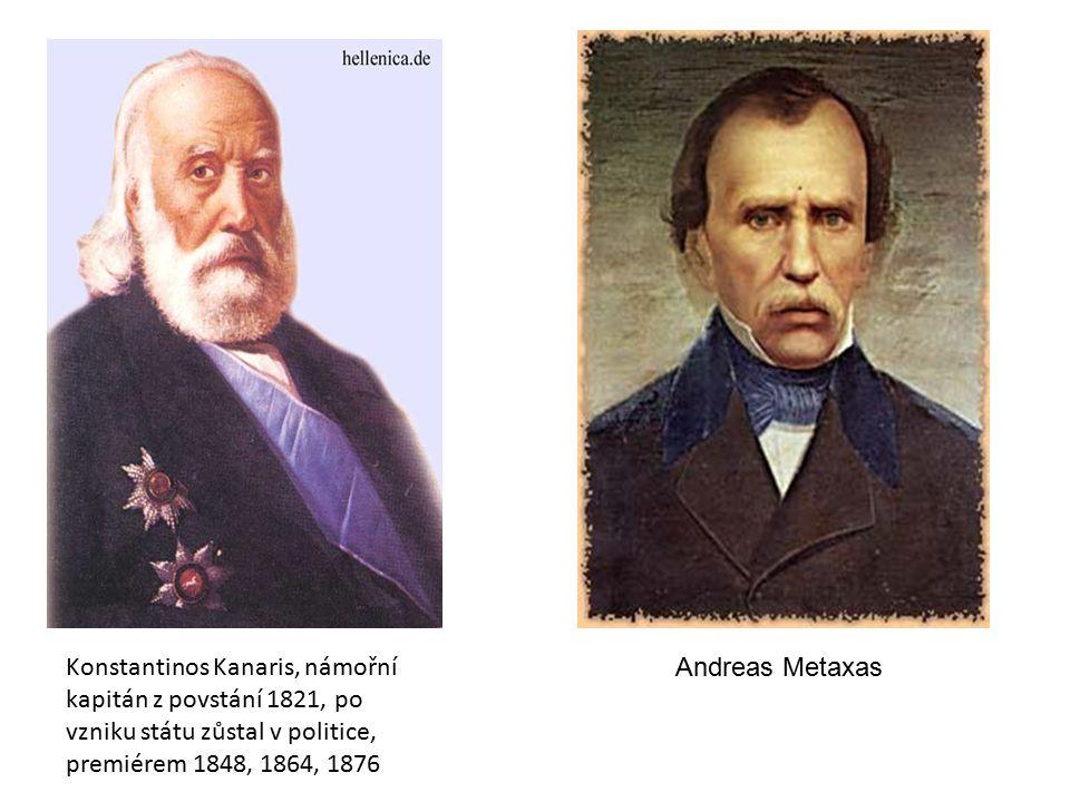 Konstantinos Kanaris, námořní kapitán z povstání 1821, po vzniku státu zůstal v politice, premiérem 1848, 1864, 1876