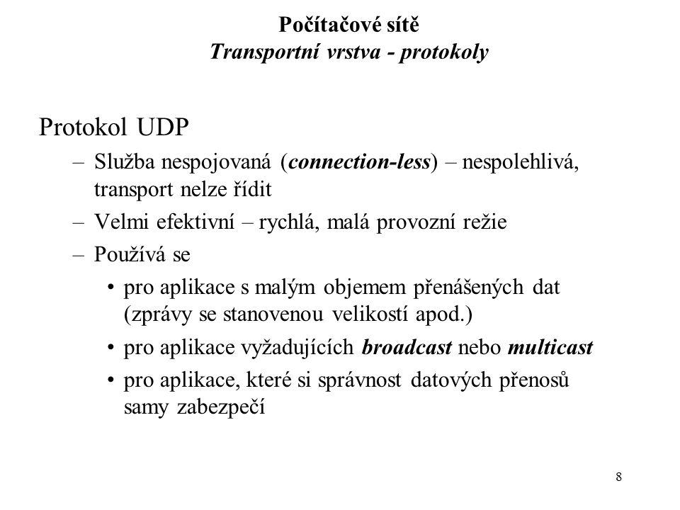 Počítačové sítě Transportní vrstva - protokoly