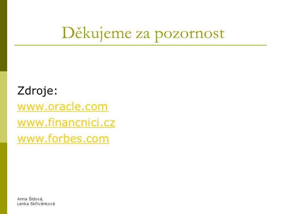 Děkujeme za pozornost Zdroje: www.oracle.com www.financnici.cz www.forbes.com Anna Šídová, Lenka Skřivánková.