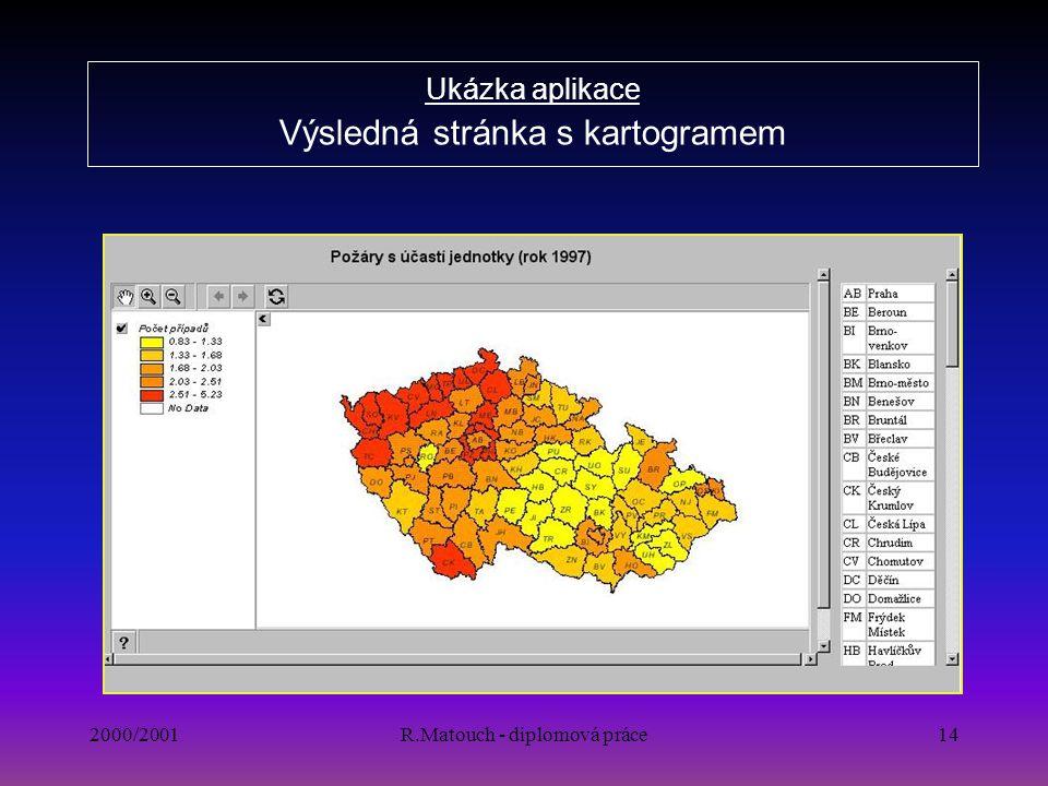 Ukázka aplikace Výsledná stránka s kartogramem