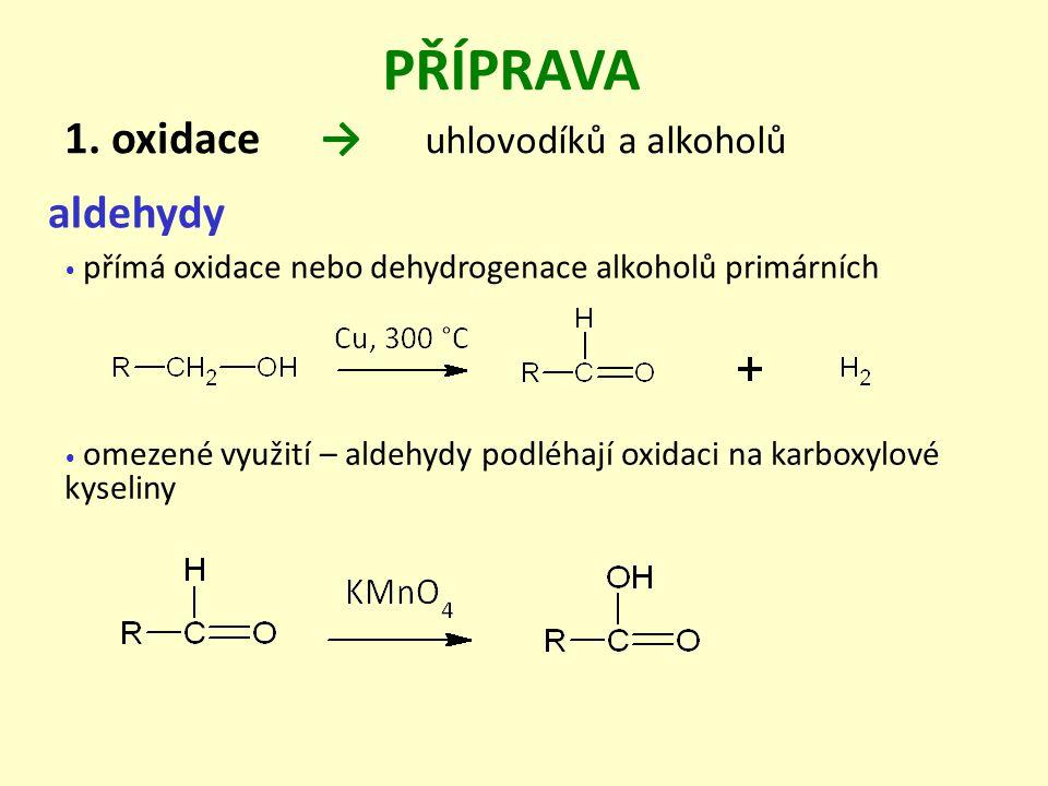 PŘÍPRAVA 1. oxidace → uhlovodíků a alkoholů aldehydy